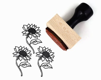 Sunflower Stamp - Hand Drawn Summer Flower Rubber Stamp by Creatiate