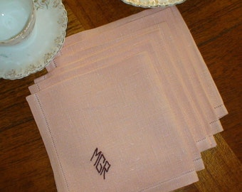 "Six Vintage Linen Napkins,  Monogrammed "" M G R"", Drawnwork Hems"