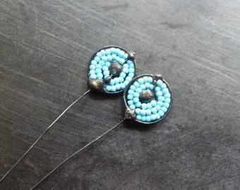 Seed bead spiral pair soldered headpins