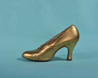 Vintage 1930s Gold Leather Shoes - Art Deco - Bridal Fashions Size 5