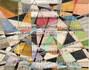 Valse June: archival giclee print of original artwork modern geometric art on vintage sheet music