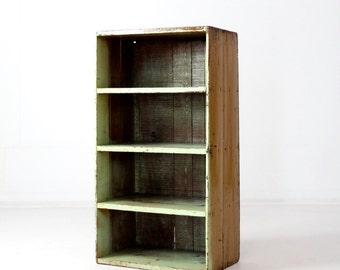 vintage cubby storage, primitive shelves, book case