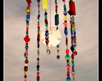 Stained glass wind chime,  Beaded Wind Chime,  sand dollar chime,  beach glass mobile,  glass suncatcher,  windchime glass plate