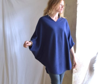 V neck Sweater Tunic with Dolman  Cropped Sleeve in Royal Blue or Dark Brown.  Ready to ship as seen