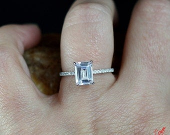 Ready to ship-White Sapphire Emerald Cut Engagement Ring 2ct 8x6mm 925 Silver Rhodium-Wedding-Anniversary-Basket Size 6.5