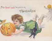 Halloween Luck Be Yours- 1910s Antique Postcard- Jack-O-Lantern- Carved Pumpkin- Black Cat- Edwardian Halloween Decor- Paper Ephemera- Used