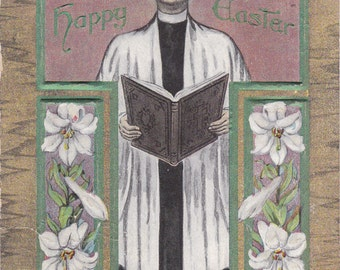 Easter Sermon- 1910s Antique Postcard- Edwardian Easter Decor- Catholic Priest- Easter Lilies- Church Service- Paper Ephemera- Used