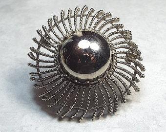 Vintage Brooch, Vintage Pin, Antiqued Silver Tone, Pinwheel Brooch, Large Brooch, Statement Brooch, Metal Brooch, Modernist Jewelry, Retro