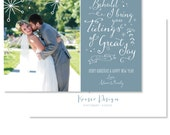 Tidings of Great Joy Dusty Blue Wedding Christmas Photo / Picture Holiday Card - FREE SHIPPING