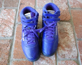 Vtg Womens 7.5 Reeboks Classics Royal Blue Leather Hitops Velcro Lace Up Shoes Sneakers Sports Warriors Basketball 80s 90s Hipster Fashion