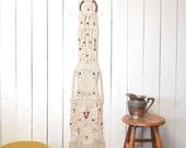 Macrame Wall Hanging - 1960s Large Fringe Hippie Boho Decor White Wood Bead Floor to Ceiling Vintage Wall Hanging