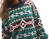 Southwest Navajo Sweater 90s Vintage Slouchy Knit Twin Peaks Woodland Pullover Extra Large XL