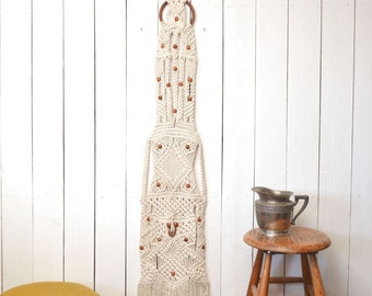 Macrame Wall Hanging 1960s Large Fringe Hippie Boho White Wood Bead Floor to Ceiling Vintage Wall Decor