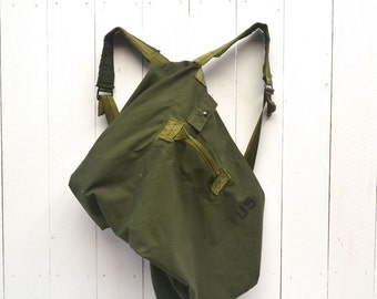 Army Duffle Bag Backpack 80s Vintage Large US Military Green Canvas Duffel Knapsack
