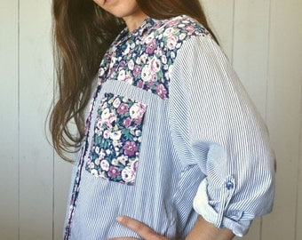 Floral Color Block Button Up Early 90s Vintage Blue White Striped Boho Folk Oxford Shirt Medium Large