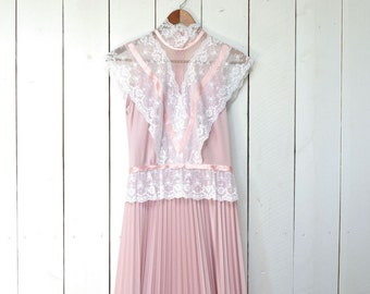 Lace Maxi Dress Vintage Rose Pink Sleeveless Floor Length Gown 1960s Alternate Wedding Dress Small