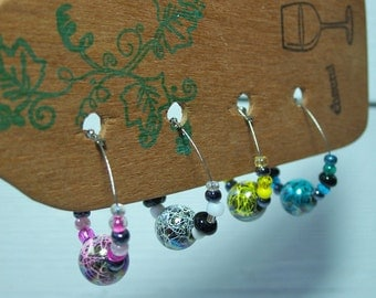 Wine Glass Charms, Set of Four Beaded Stemware Charms, Magnetic Clasp Closure
