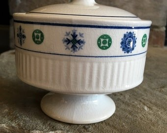 Vintage Potomac Sugar Bowl Amcrest Ironstone Blue & Green - #5417
