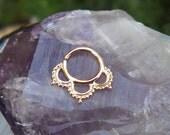 Tribal Septum Ring -  14K Solid Rose Gold Septum Ring - Septum Piercing - Septum Jewelry - Septum Nose Ring