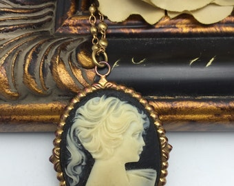 Cameo Necklace Vintage Necklace large black and white cameo pendant