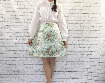 Vintage 60s White Floral A-Line Skort Mini Skirt Bloomers Shorts M