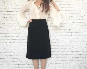 Vintage 80s Black Velvet Skirt L High Waist Knee Length Cotton