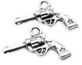 Silver Charms : 10 pieces Antique Silver Gun Charms | Silver Revolver Charms | Pistol Charms -- Lead, Nickel & Cadmium Free 45429.H6J