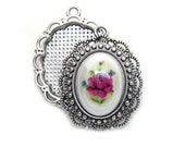 Cabochon Settings : 10 Antique Silver Cameo Settings   Bezels   Pendant Holds 18x13mm Cabochon -- Lead, Nickel & Cadmium Free 16474.H4H