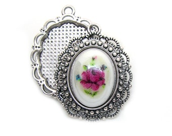 Cabochon Settings : 10 Antique Silver Cameo Settings | Bezels | Pendant Holds 18x13mm Cabochon -- Lead, Nickel & Cadmium Free 16474.H4H
