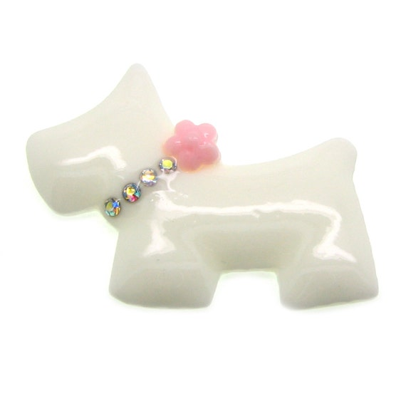 Resin Cabochons : 2 White & Pink Bling Adorable Scottie Dog with Rhinestone Collar and Pink Rose Resin Cabochons -- Perfect for Bobby Pins