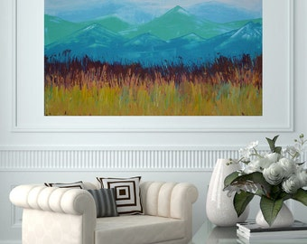 READY TO SHIP: Colorado Prarie 40x30 Large Room Art Textured Mountain Prarie Landscape by MyImaginationIsYours