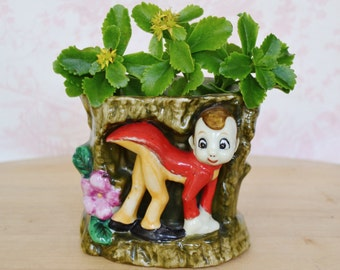 Vintage Pixie Elf Planter or Pencil Holder with Flowers and a Tree Made in Japan
