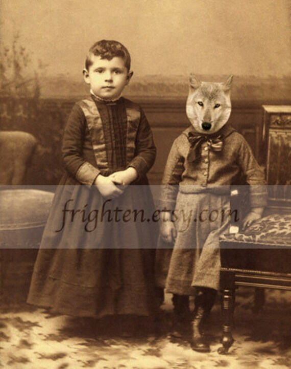 Wolf Art, Altered Victorian Family Portrait of Two Brothers, 5 x 7 inch Collage Animal Wall Art Print