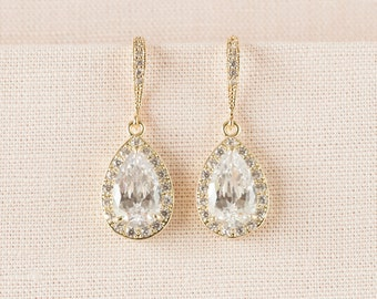 Gold Bridal earrings, Wedding jewelry Crystal Wedding earrings Bridal jewelry, Ariel Drop Earrings