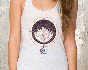 Women's Tank Top - Lotus & Moon Illustration - American Apparel Women's Tri-Blend Tank Top - Available in XS, S, M and L