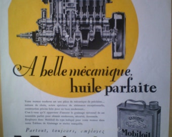Art Deco Original  Vintage French Ad Mobil Oil 1932