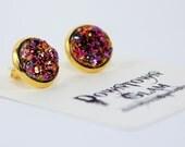 Gold Peach Rose Druzy Stud Earrings