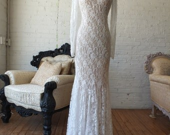 Chantilly lace wedding dress with sleeves
