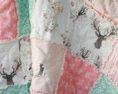 Crib Rag Quilt Baby Girl Crib Bedding Woodland Nursery Coral Aqua Nursery