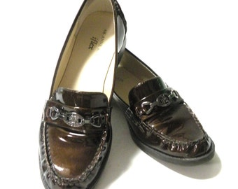 Brown Slip Ons Loafers Patent Leather Comfortable Flats Women Shoes Summer Trends Anne Klein iflex Size 7 M
