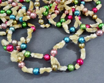 Vintage Chenille Loop Glass Bead Garland Cream Multi Colored Pink Red Gold Green Blue 8' Tree Decoration 1950's