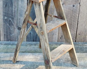 Vintage Wooden Step Ladder Red Weatherd Faded Paint Chippy Shabby Rustic Primitive Decor Shelf Stool