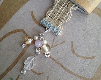 Beaded Ribbon Bookmark Burlap Pink Leaf Beads Delicate Book Club