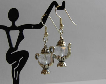 Tea Pot Earrings,  Holidays Girl Jewelry, Hypoallergenic Dangle Earrings