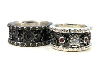 View Wedding Ring Sets by SwankMetalsmithing on Etsy