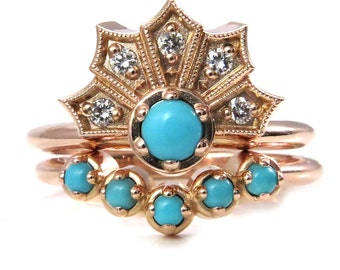 Diamond and Turquoise Crown Engagement Ring Set - Modern Art Deco Wedding Rings
