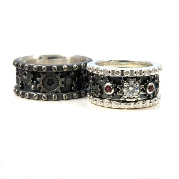 steunk gear ring set distressed sterling silver