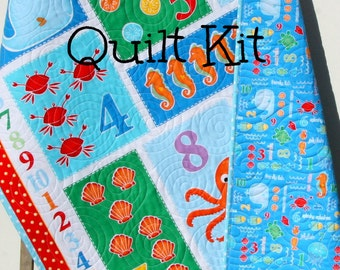 Quilt Kit, Count With Me, Panel, Quick Easy Fun, Beginner Project, Studio E Fabrics, Numbers Ocean Nautical Fish Whale Octopus Shells