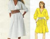 80s Calvin Klein Womens Pullover Dress Dolman Sleeves Vogue Sewing Pattern 2891 Size 12 14 Bust 34 36 Vintage Vogue American Designer