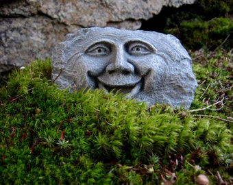 Rock Face, Happy Garden Face, Forest Spirit, Concrete Garden Statue, Cement Yard Art, Garden Decor, Garden Rocks, Rocks With Faces,
